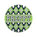 """Green Argyle Preppy 3.5"""" Button"""