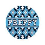 "Blue Argyle Preppy 3.5"" Button (100 Pk)"