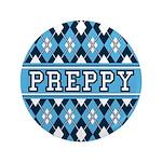 """Blue Argyle Preppy 3.5"""" Button"""