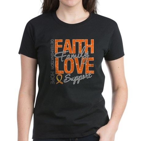 Leukemia Faith Family Women's Dark T-Shirt
