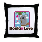 Koala & Love Throw Pillow