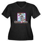Koala & Love Women's Plus Size V-Neck Dark T-Shirt