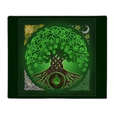 Circle Celtic Tree of Life Throw Blanket