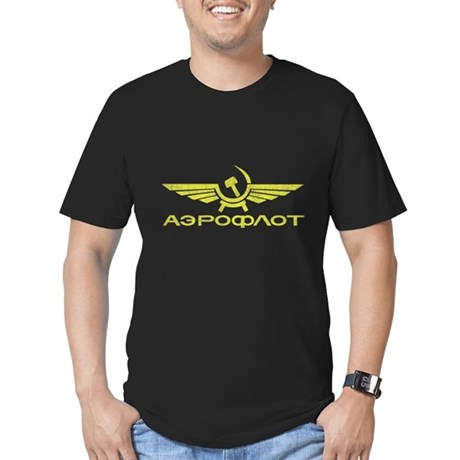 Vintage Aeroflot Mens Fitted Dark T-Shirt