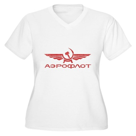Vintage Aeroflot Plus Size V-Neck Shirt