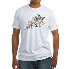 Butterfly Swarm Unisex White Fitted T-Shirt