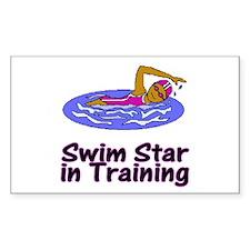Swim Star in Training Olivia Rectangle Sticker