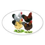 Wyandotte Rooster Assortment Sticker (Oval 50 pk)