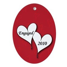 Red AH Engaged 2010 Ornament (Oval)