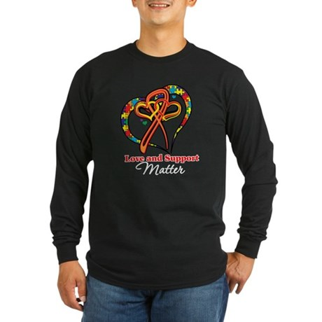 Love Support Autism Long Sleeve Dark T-Shirt