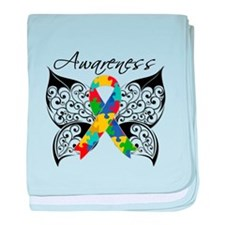 Awareness Butterfly Autism baby blanket