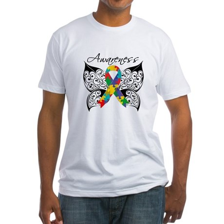 Awareness Butterfly Autism Fitted T-Shirt