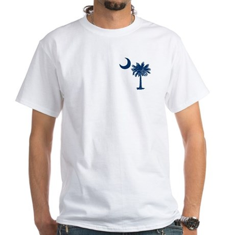 Blue Palmetto White T-Shirt