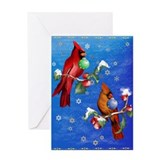 Two Christmas Birds Greeting Card