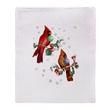 Two Christmas Birds Throw Blanket