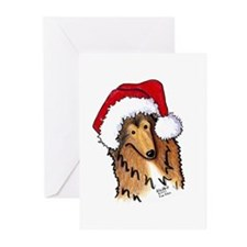 Santa Paws Collie Greeting Cards (Pk of 10)