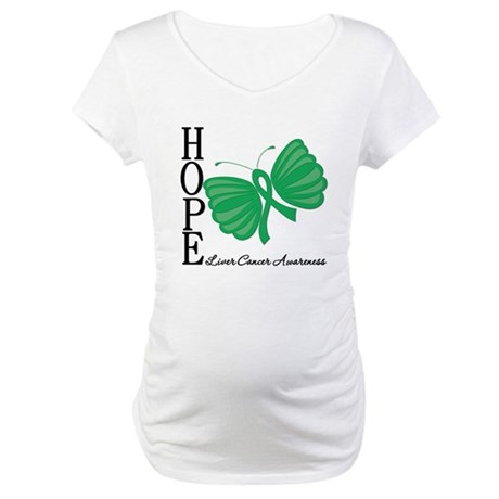 Hope Butterfly Liver Cancer Maternity T-Shirt