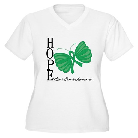 Hope Butterfly Liver Cancer Women's Plus Size V-Ne