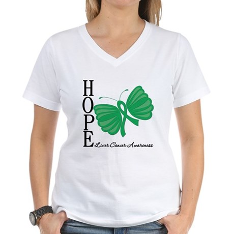 Hope Butterfly Liver Cancer Women's V-Neck T-Shirt