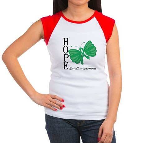 Hope Butterfly Liver Cancer Women's Cap Sleeve T-S