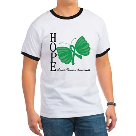 Hope Butterfly Liver Cancer Ringer T