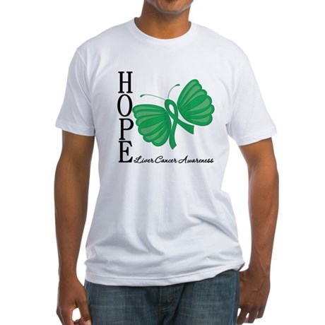 Hope Butterfly Liver Cancer Fitted T-Shirt
