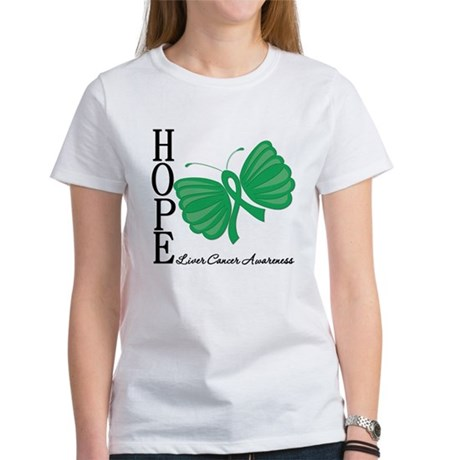 Hope Butterfly Liver Cancer Women's T-Shirt