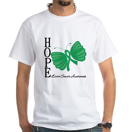 Hope Butterfly Liver Cancer White T-Shirt