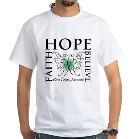 Faith Hope Liver Cancer White T-Shirt
