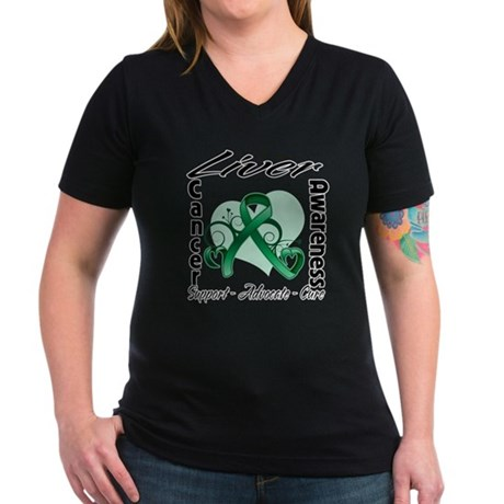 Liver Cancer Awareness Women's V-Neck Dark T-Shirt