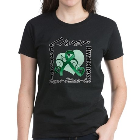 Liver Cancer Awareness Women's Dark T-Shirt