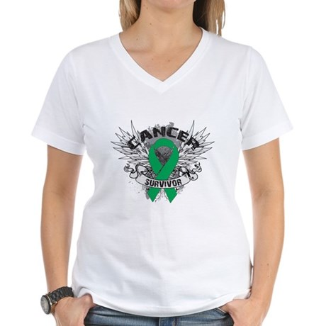 Survivor Wings Liver Cancer Women's V-Neck T-Shirt