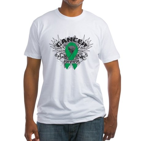 Survivor Wings Liver Cancer Fitted T-Shirt
