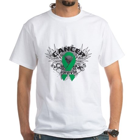 Survivor Wings Liver Cancer White T-Shirt