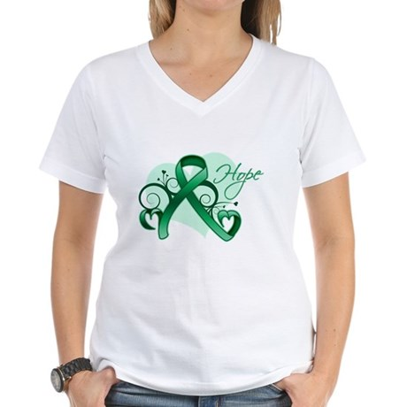 Hope Ribbon - Liver Cancer Women's V-Neck T-Shirt