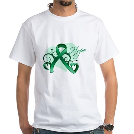 Hope Ribbon - Liver Cancer White T-Shirt