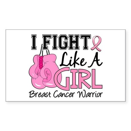 Fight Like A Girl Breast Cancer Sticker (Rectangle