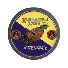 'Honolulu Lady' Hawaiian Pineapple Wall Clock