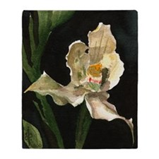 White Orchid Watercolor Blanket (two-sided)
