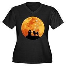 Shiba Inu Women's Plus Size V-Neck Dark T-Shirt