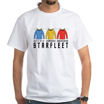 Starfleet Uniforms White T-Shirt | Gifts For A Geek | Geek T-Shirts