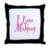 I Love Mahjong Throw Pillow