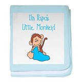 Blue Papa's Little Monkey baby blanket