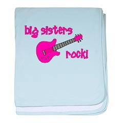 Big Sisters Rock! pink guitar baby blanket