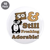 Adorable 50th Birthday 3.5&quot; Button (10 pack)