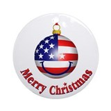 Merry Christmas Flag Ornament (Round)