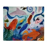 Tropical Fish and Mermaid party throw blanket