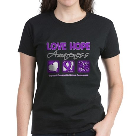 Pancreatic Cancer Love Hope Women's Dark T-Shirt