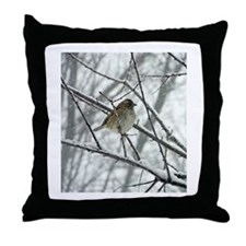 Sparrow in a Snowstorm Photo Throw Pillow