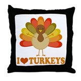 Cute I Heart Turkeys Throw Pillow